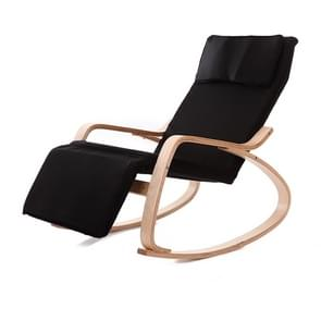 Q1 Curved Wooden Rocking Chair Solid Wood Birch Folding Lounge Chair (Black)