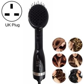 2 in 1 Multifunctional Electric Hair Dryer,Dry and Wet Negative Ion Straight Hair Comb, UK Plug (Black)