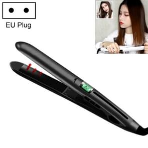 Mini keramische vloeibare kristallen Hair Straightener haar krultang  Dual Purpose elektrische Splint  EU Plug (zwart)