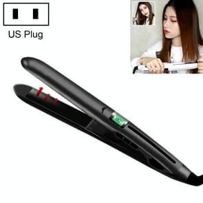 Mini Ceramic Liquid Crystal Hair Straightener Hair Curler, Dual Purpose Electric Splint , US Plug (Black)