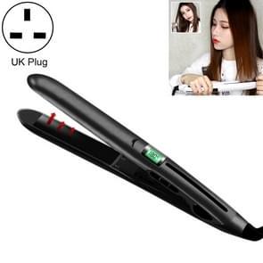 Mini Ceramic Liquid Crystal Hair Straightener Hair Curler, Dual Purpose Electric Splint , UK Plug (Black)