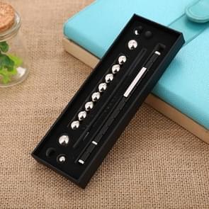 Magnetische metalen bal druk Relief water pen touch pen geschenk doos (zwart)