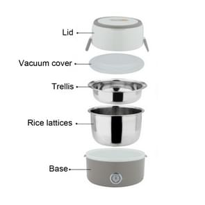 1.2L 2-layer 250W Multi-function Stainless Steel Inner Insulated Cooking and Heating Lunch Boxes, Size: 17*22.6cm(Grey)
