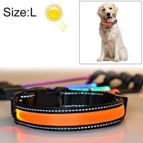 Middelgrote en grote hond huisdier zonne- + USB lading LED licht kraag  grootte van de omtrek van de nek: L  50-60cm(Orange)