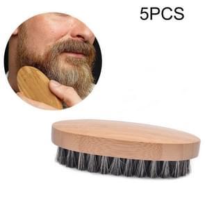 5 PCS Men Beard Care Brush Hardwood Handle Wild Boar Bristle Comb