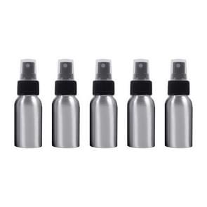5 PCS Refillable Glass Fine Mist Atomizers Aluminum Bottle, 50ml(Black)