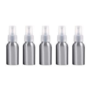 5 PCS Refillable Glass Fine Mist Atomizers Aluminum Bottle, 50ml(Transparent)