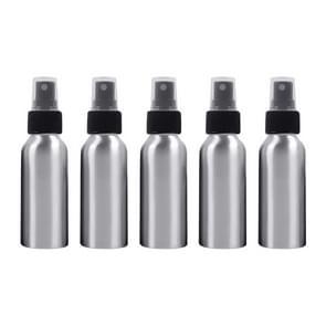 5 PCS Refillable Glass Fine Mist Atomizers Aluminum Bottle, 100ml(Black)