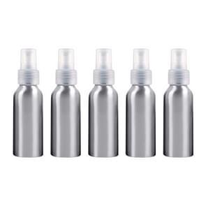 5 PCS Refillable Glass Fine Mist Atomizers Aluminum Bottle, 100ml(Transparent)