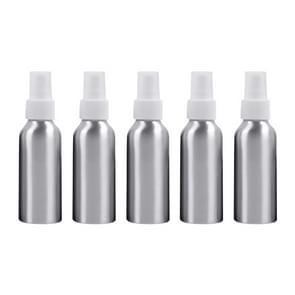 5 PCS Refillable Glass Fine Mist Atomizers Aluminum Bottle, 100ml(White)