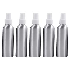 5 PCS Refillable Glass Fine Mist Atomizers Aluminum Bottle, 150ml(White)