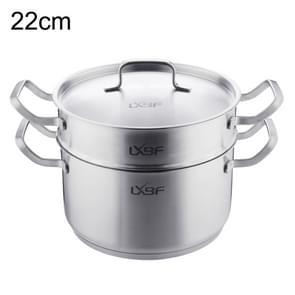 LXBF LX-2ZG22-01 roestvrijstalen 2-laags Steamer kookpot, specificatie: 22cm
