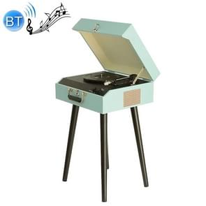 PU Leather Wooden Box Decoration Bluetooth Music Disc Player Tuntable Record Player (Blue)
