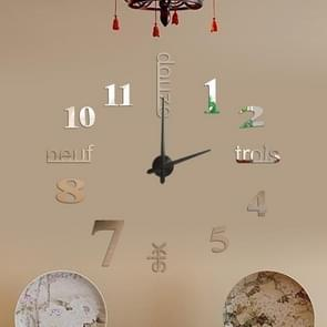 A6 DIY French Clock 3D Stereoscopic Mirror Wall Stickers