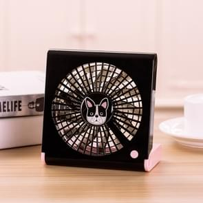 Bulldog Pattern Mini Notebook Folding USB Fan with Wind 3 Speeds(Black)