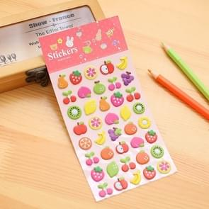 2 PCS Fruits Pattern Creative Cartoon Children DIY Album Diary Decorative Stereo Bubble Sticker