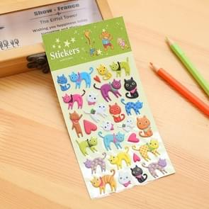 2 PCS Cats Pattern Creative Cartoon Children DIY Album Diary Decorative Stereo Bubble Sticker