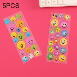 5 PCS Smiley Face Stereoscopic Bubble Sticker Children Cartoon Decorative Sticker, Random Delivery