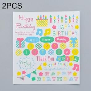 2 PCS Happy Birthday Pattern Creative Cartoon Children Diary Decorative Sticker