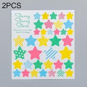 2 PCS Star 3 Pattern Creative Cartoon Children Diary Decorative Sticker