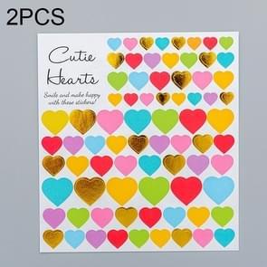 2 PCS Heart 1 Pattern Creative Cartoon Children Diary Decorative Sticker