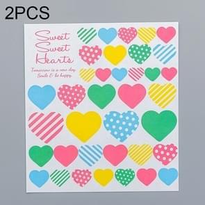 2 PCS Heart 2 Pattern Creative Cartoon Children Diary Decorative Sticker