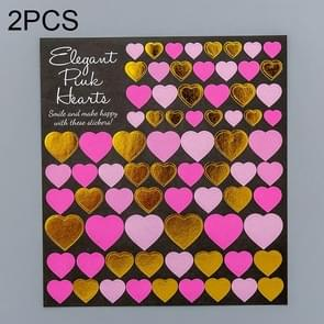 2 PCS Heart 3 Pattern Creative Cartoon Children Diary Decorative Sticker