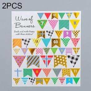 2 PCS Flag Pattern Creative Cartoon Children Diary Decorative Sticker