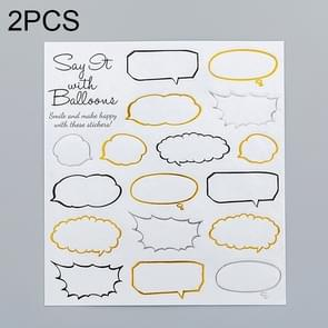 2 PCS Dialog Box Pattern Creative Cartoon Children Diary Decorative Sticker
