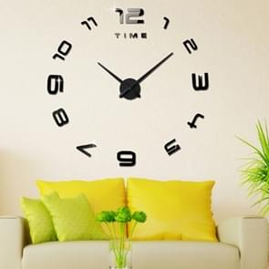 Bedroom Home Office Decoration Modern Frameless Large Number DIY 3D Mirror Wall Sticker Quiet Clock, Size: 100*100cm(Black)