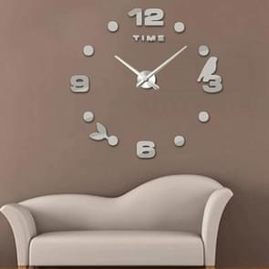 Bedroom Home Office Decoration Frameless Large Size DIY 3D Mirror Surface Wall Stickers Quiet Clock, Size: 100*100cm(Silver)