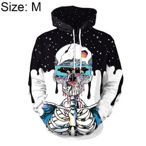 Halloween Trend Explosions Skull 3D Digital Print Unisex Coat Sweater with Hat Size: M
