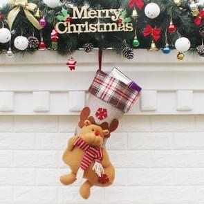 Christmas Ornament Decoration Elk Lattice Cloth Christmas Stocking Gift Bag Pendant