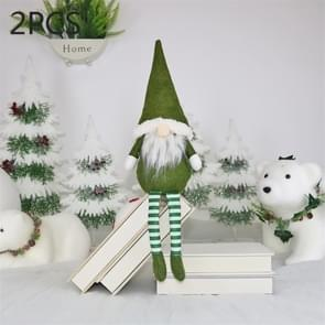 2 PCS CX20218 Faceless Long-legged Sitting Doll Window Ornament Christmas Decoration(Green)