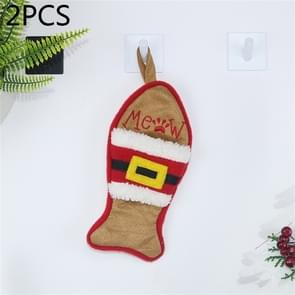 2 PCS CX20223 Multi-function Fish Shape Christmas Sock Gift Bag Knife Fork Sleeve Christmas Tree Pendant Decoration(Brown)