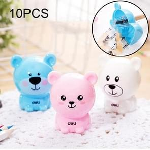 10 PCS Deli Bear Manual Pencil Sharpeners Kids Friendly at Home Office School, Random Color Delivery