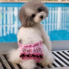 Geborduurde huisdier sanitaire Pants Underwear  grootte: M (taille: 22 - 30cm)(Pink)