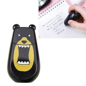 Twingo Bear vorm correctie tape cute draagbare leren tools student briefpapier (zwart)
