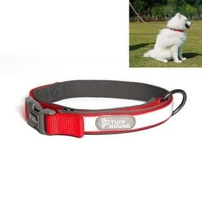 Tuffhound 1427 nylon + dompelpompen + reflector Bar verstelbare halsband  instelbare waaier: 2x (38-51) cm  maat: M (rood)