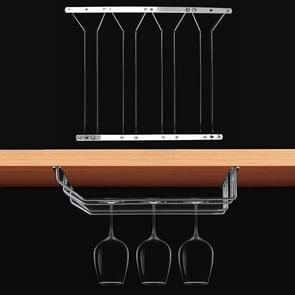 MICLAN Four Rows Stainless Steel Hanging Wine Glass Holder, Size: 34*38*43cm