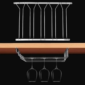 MICLAN Five Rows Stainless Steel Hanging Wine Glass Holder, Size: 34*49*54cm