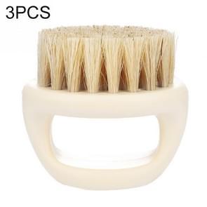 3 PCS Men Ring Design Portable Boar Brush White ABS Haircut Cleaning Shaving Brush(White)