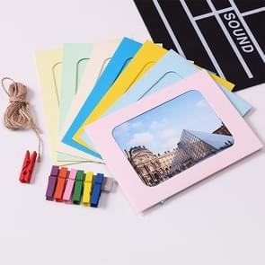 70 PCS / 10 Sets Creative DIY 6 inch Coloured Wall Hanging Photo Frames with Clips & Rope