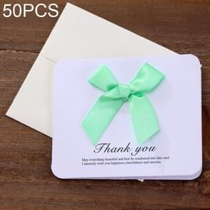 50 PCS Festival Creative Universal Bowknot Greeting Cards with Envelope (Green)