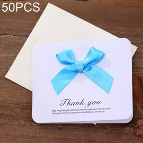 50 PCS Festival Creative Universal Bowknot Greeting Cards with Envelope (Blue)