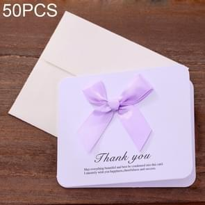 50 PCS Festival Creative Universal Bowknot Greeting Cards with Envelope (Purple)