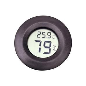 Digital Round Shaped Reptile Box Centigrade Thermometer & Hygrometer with Screen Display (Black)