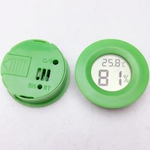 Digital Round Shaped Reptile Box Centigrade Thermometer & Hygrometer with Screen Display (Green)