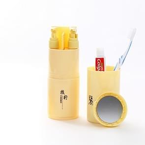 Creative 5 in 1 Portable Gargle Cup Shampoo Sub-Bottle Comb Make-up Mirror Travel Wash Kits, Standard Sets (Khaki)