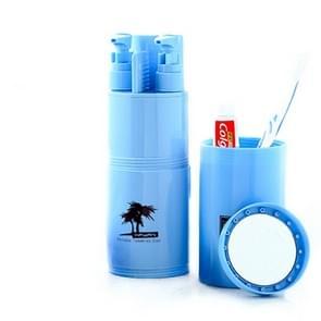 Creatieve 5 in 1 draagbare gorgelen Cup Shampoo sub fles kam Make-up spiegel reizen Wash Kits  standaard ingesteld (blauw)
